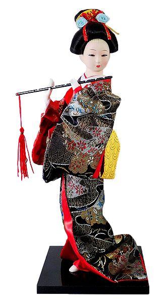 Japanese Geisha Doll in Brocade Kimono Dress Holding Flute