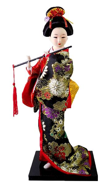 Japanese Geisha Doll in Multicolor Kimono Dress Holding Flute
