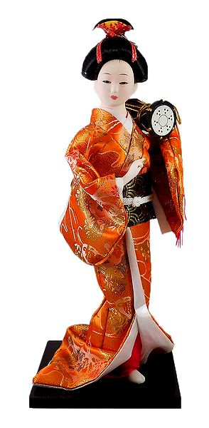 Japanese Geisha Doll in Saffron Kimono Dress Holding Drum