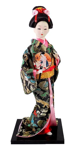 Japanese Geisha Doll in Brocade Kimono Dress Holding Drum
