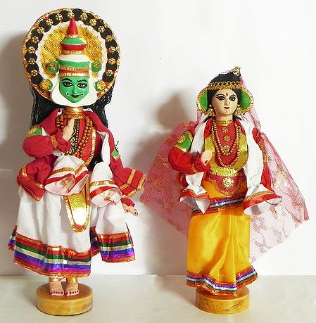 Kathakali Dancers as Arjuna and Draupadi