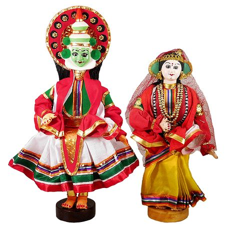 Pair of Kathakali Dancers - Cloth Dolls