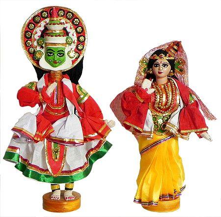 Kathakali Dancers as Arjuna and Draupadi