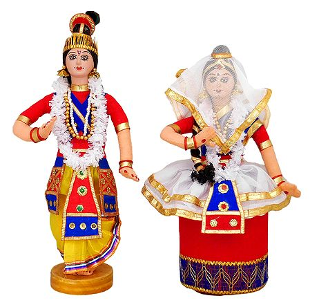 Manipuri Dancers Depicting Radha Krishna - Cloth Doll