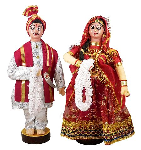 Marwari Bride and Bridegroom from Rajasthan - Cloth Doll