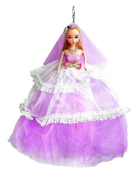 Mauve Net Dressed Acrylic Hanging Wedding Doll