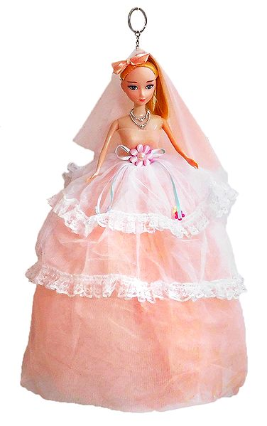 Light Peach Net Dressed Acrylic Hanging Wedding Doll