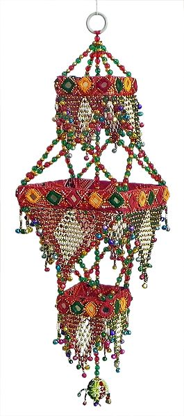 Wall Hanging with Cowrie, Mirror and Bead Work - Show Piece