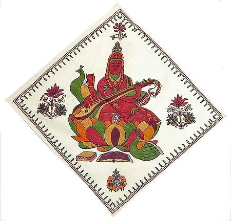 Goddess Saraswati Sitting on a Lotus with Veena - Wall Hanging