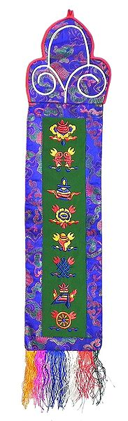 Embroidered Eight Buddhist Symbols on Silk - Wall Hanging