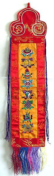 Sacred Buddhist Symbols  - Tibetan Embroidered Wall Hanging