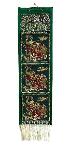 Elephant Design on Brocade Silk Letter Holder with 3 Pockets