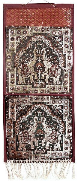 Magazine and Paper Holder with Two Pockets in Zari Weaved Elephants
