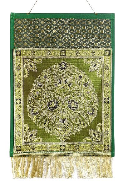 Green Brocade Silk Magazine and Paper Holder with One Pocket