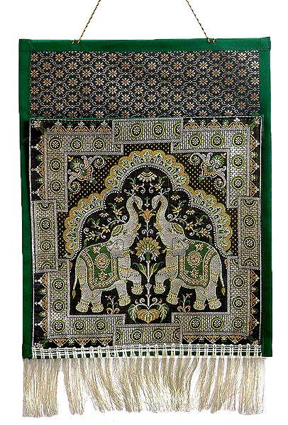 Elephant Design Brocade Silk Magazine Holder with One Pocket