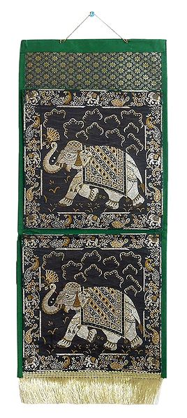 Elephant Design on Brocade Silk Magazine Holder with 2 Pockets