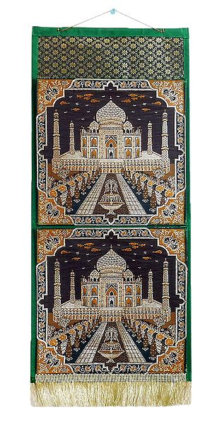 Tajmahal Design on Brocade Silk Magazine Holder with 2 Pockets