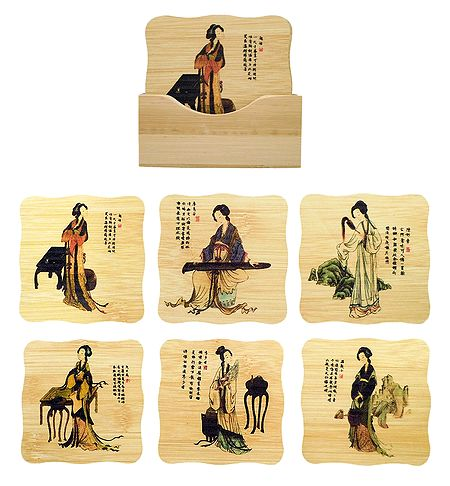 Set of 6 Bamboo Coasters with Holder