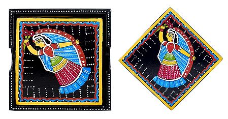 Set of 6 Square Table Coasters and Holder with Tikuli Painting