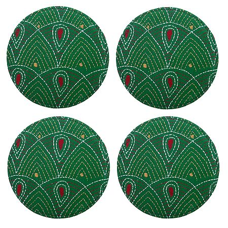 Set of 4 Cloth Embroidered Table Coasters