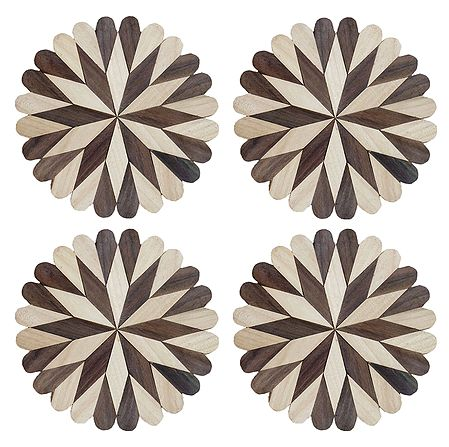 Set of 4 Flower Shaped Wooden Coasters