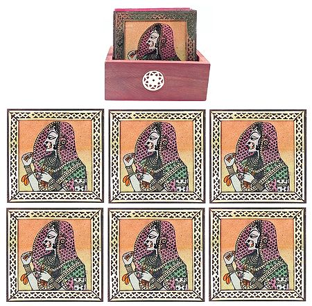 Set of 6 Gemstone Bani Thani Painting Coasters with Holder