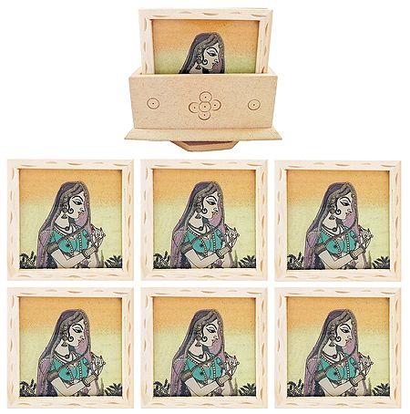Set of 6 Gemstone Princess Painting Coasters with Revolving Holder