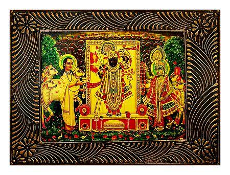 Dwarkadheesh with Krishna and Sudama - Deco Art Wall Hanging