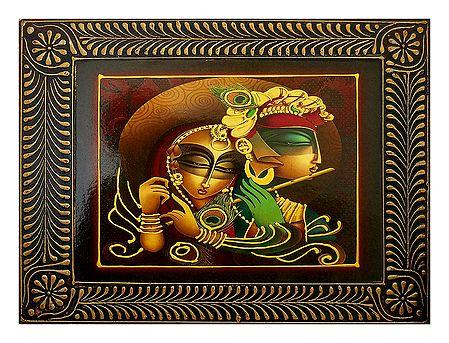 Radha Krishna Playing Flute - Deco Art Wall Hanging