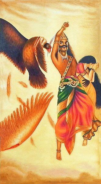 Jatayu Vadh - Raja Ravi Varma Multicolor Canvas Painting
