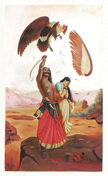 Jatayu Vadh - Raja Ravi Varma Multicolor Painting on Canvas