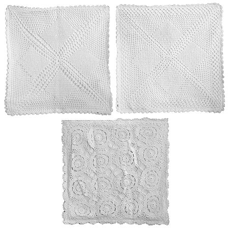Set of 3 White and Off-White Crocheted Cushion Covers