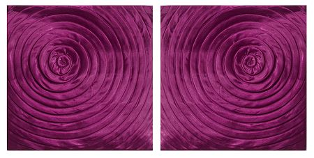 Set of 2 Magenta Satin Cushion Covers with Swirl Design
