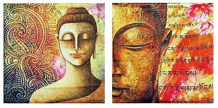 Set of 2 Satin Cushion Covers with Buddha Print
