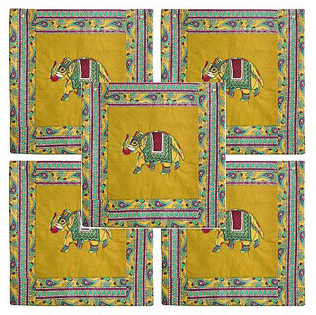 Set of 5 Elephant Print Cotton Cushion Covers
