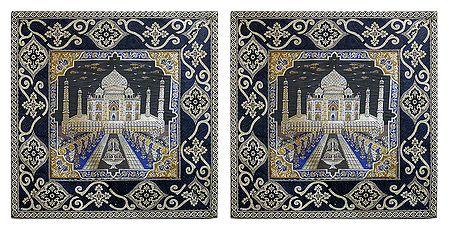 Set of 2 Silk Cushion Covers with Taj Mahal Design