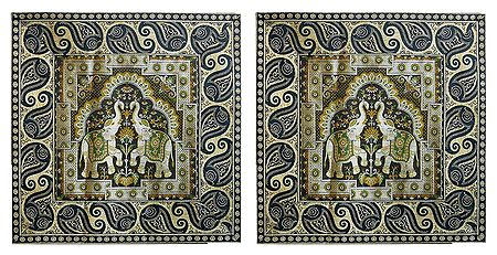 Set of 2 Silk Cushion Covers with Elephant Design