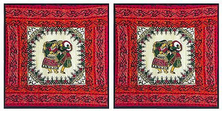 Set of 2 Printed Cotton Cushion Covers Depicting Folk Dancers