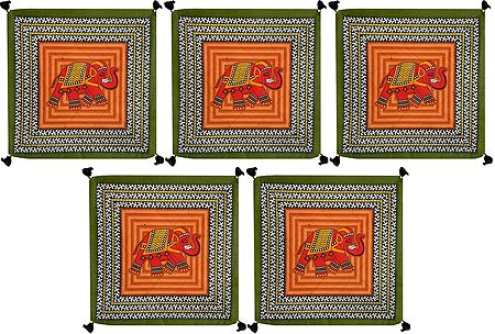 Set of 5 Elephant Print Cotton Cushion Covers