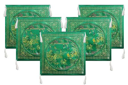 Set of 5 Dark Green Satin Silk Cushion Covers Depicting Life in Traditional China