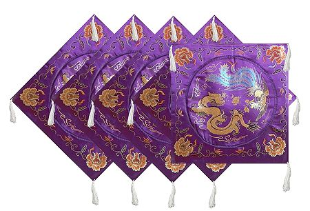 Set of 5 Dark Purple Satin Silk Cushion Covers Depicting Chinese Dragon