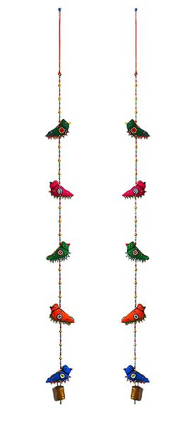 Set of 2 Decorative Wall Hangings with Cloth Birds and Beads