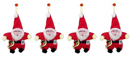 Set of 4 Hanging Red Santa Claus for Christmas Decoration