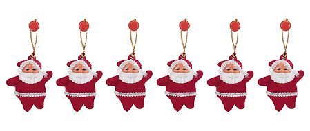 Set of 6 Hanging Santa Claus for Christmas Decoration