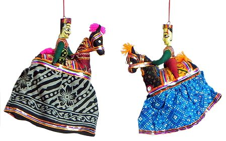 Pair of Kachi Gori Dancing Dolls - Wall Hanging