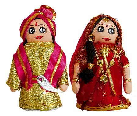 Marwari Bride and Bridegroom Doll - Set of 2