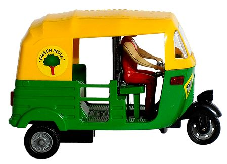 Yellow with Green Acrylic Indian CNG Auto