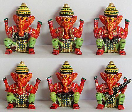 Musician Ganesha - Set of Six