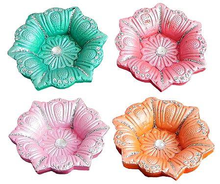 Set of 4 Colored Flower Design Oil Lamp
