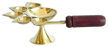 Ritual Hand Held Five Faced Oil Lamp with Wooden Handle for Aarti